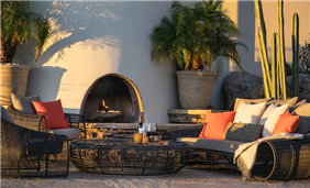 The Four Peaks Lawn includes a lounge area with an outdoor fireplace